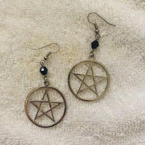 VINTAGE Pentagram Earrings with Bead